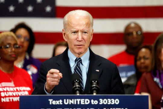 Democratic presidential candidate Joe Biden campaigns in Columbus, Ohio, on March 10, 2020.