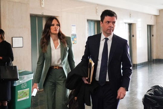 Harvey Weinstein defense lawyers Donna Rotunno and Damon Cheronis arrive for his sentencing at Manhattan Criminal Court on March 11, 2020, in New York.