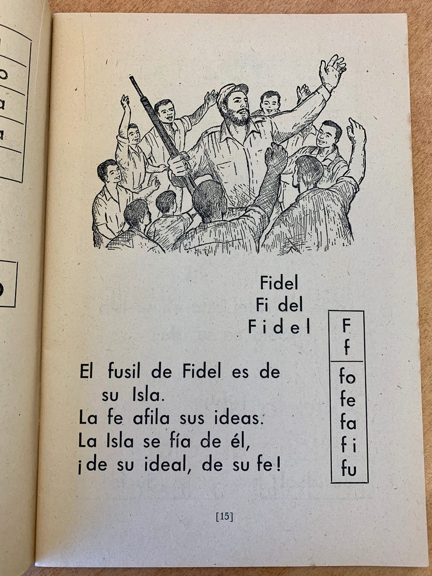Pages from manuals given to instructors and students in Cuba as part of Fidel Castro's literacy campaign in 1961.