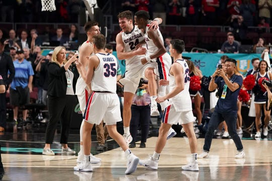 Gonzaga Bulldogs celebrates after defeating against the Saint Mary's Gaels after the championship game in the WCC Basketball Tournament at Orleans Arena.