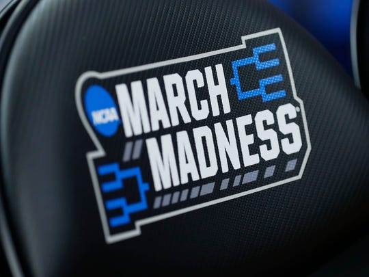 March Madness logo during practice before the first round of the 2019 NCAA tournament.