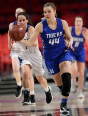 Wrightstown's Ella Diny (44) averaged 22.7 points this season in teaming with Bridget Froehlke to lead the Tigers to the WIAA Division 3 state finals. Dan Powers/USA TODAY NETWORK-Wisconsin