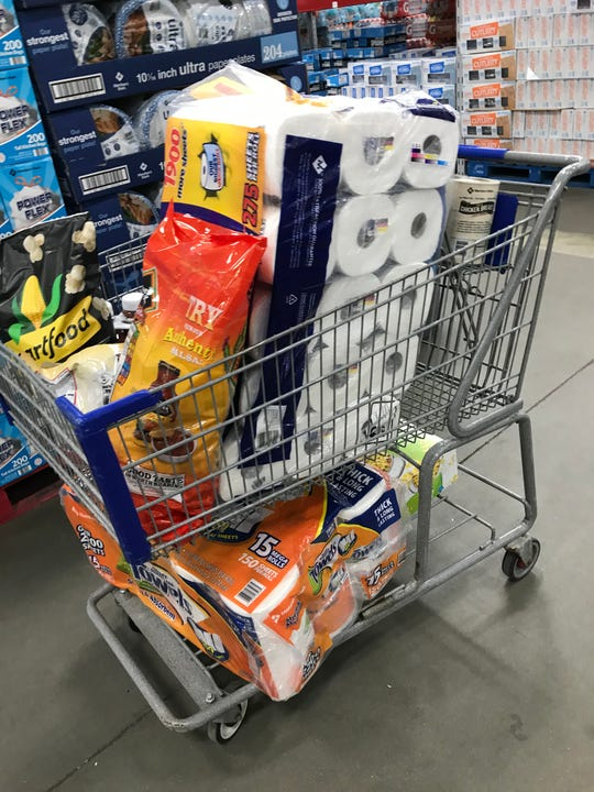A shopper's cart at Sam's Club.