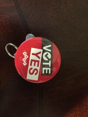 Some Mission nurses are wearing this pin to indicate their support for unionizing.