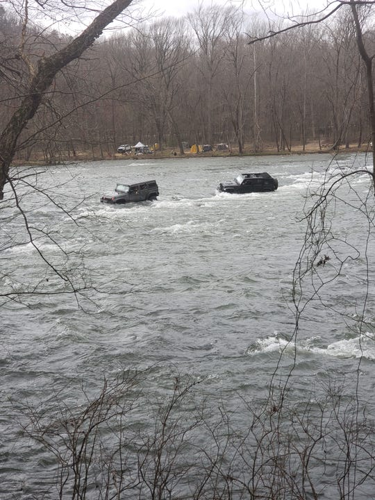 The drivers of two Jeeps with a total of six passengers attempted to cross the French Broad River in Hot Springs March 10. No charges were filed in connection with the incident.