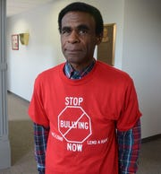Bobby Holley in an anti-bullying T-shirt.  Trace Christenson/The Enquirer
