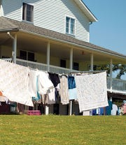 Along with spring cleaning in preparation for hosting church services, Lovina and daughters did many loads of laundry this week and took advantage of the sunshine and warmer temperatures to hang it outside to dry.