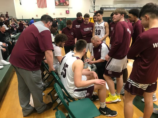Johnson City talks it up on the way to 76-70 Class A playoff win against New Paltz March 11, 2020.