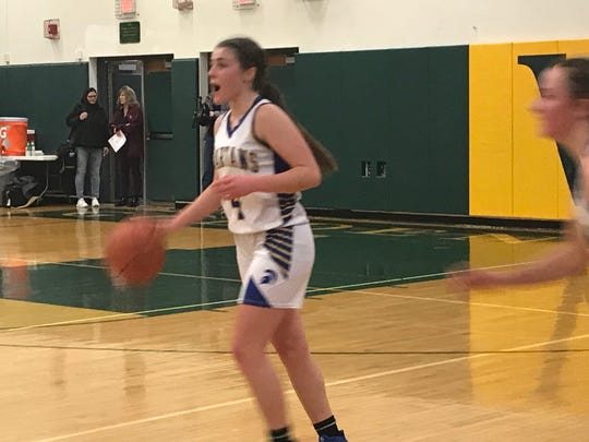 Maine-Endwell point guard Kaetlyn L'Amoreaux dribbles during Wednesday's Class A state first-round playoff game against Cornwall on Wednesday at Vestal. L'Amoreaux had 12 points, 14 rebounds and four assists in the Spartans' 49-42 victory.