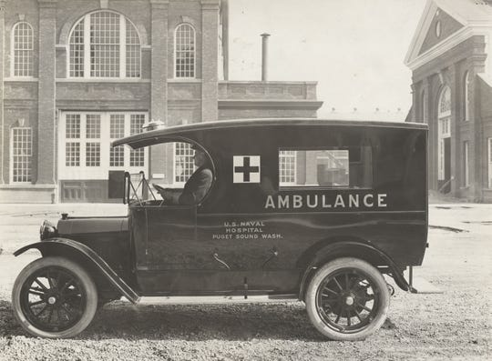 An ambulance at the U.S. Naval Hospital at the Puget Sound Naval Shipyard in 1915. The Spanish Flu pandemic killed millions around the world, including here on the Kitsap Peninsula.