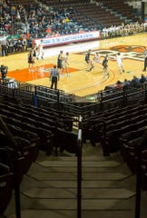 Bowling Green State University's Stroh Center hosted approximately 400 people Wednesday night at the D-III regional semifinals instead of several thousands.