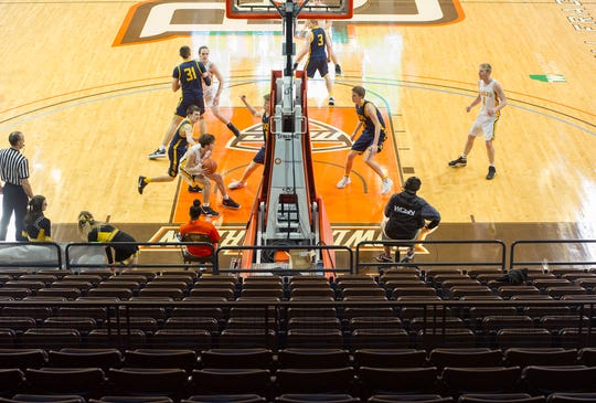 Colonel Crawford played in front of an empty Stroh Center Wednesday night in the Eagles' D-III regional semifinal.