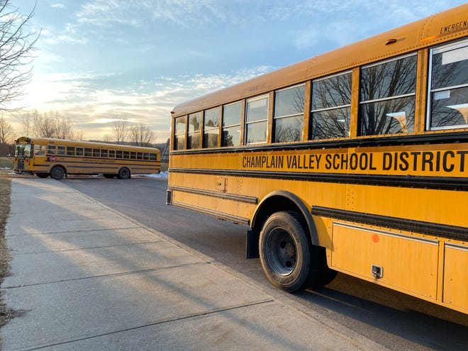 Champlain Valley School District Buses at Allen Brook School in Williston on March 9, 2020. The school was closed amid COVID-19 concerns.