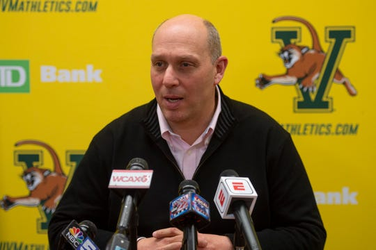 University of Vermont athletic director Jeff Schulman speaks to media about the abrupt end of the Catamounts' season due to the spread of the coronavirus on Thursday, March 12, 2020.