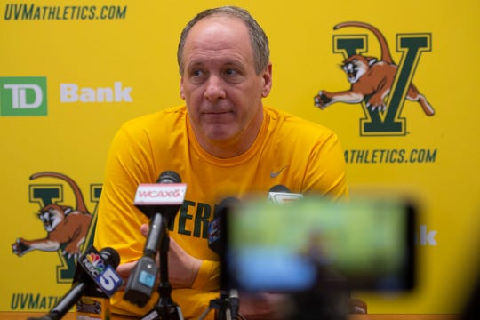 University of Vermont men's basketball coach John Becker speaks to media about the abrupt end of the Catamounts' season due to the spread of the coronavirus on Thursday, March 12, 2020.