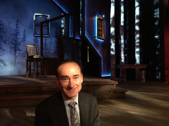 """Vermont author Chris Bohjalian on the set of his play, """"Midwives,"""" at the George Street Playhouse in New Brunswick, New Jersey, on Feb. 1, 2020."""