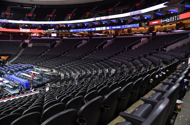 Mar 11, 2020; Philadelphia, Pennsylvania, USA; A general view of the arena after game between Philadelphia 76ers and Detroit Pistons at Wells Fargo Center. Mandatory Credit: Eric Hartline-USA TODAY Sports