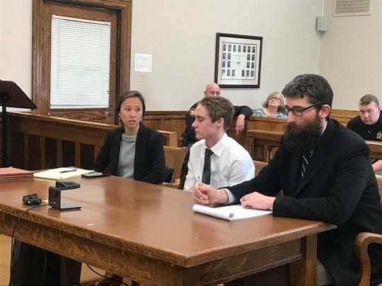 Jaden Churchheus and his attorney Ryan Shepler before Churchheus' bond modification hearing on March 12, 2020.