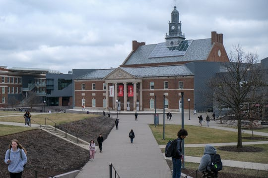 The Tangeman University Center at the University of Cincinnati's campus, photographed in early March, before UC shifted to remote learning to stem the spread of COVID-19.