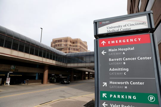 The University of Cincinnati Medical Center, pictured, Thursday, March 12, 2020, in Cincinnati, Ohio.