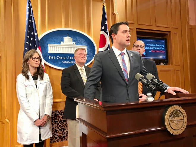 Ohio Secretary of State Frank LaRose announces more than 100 polling places will be moved from senior living facilities due to concerns about spread of the novel coronavirus.