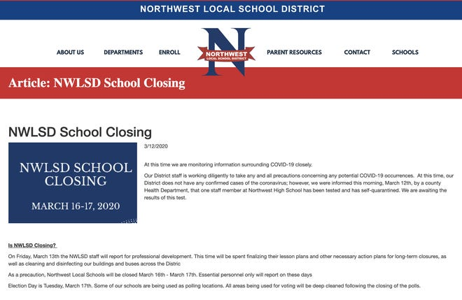 Northwest Local School District has announced closing March 16-17, 2020, in regards to concerns with COVID-19 and coronavirus.