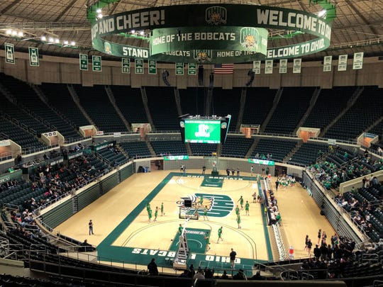 The view from the top of the Ohio University Convocation Center prior to Ridgewood's Division III regional semifinal against Proctorville Fairland on Wednesday night. Per Ohio High School Athletic Association mandates, a limited amount of tickets were sold due to concerns over the Coronavirus.
