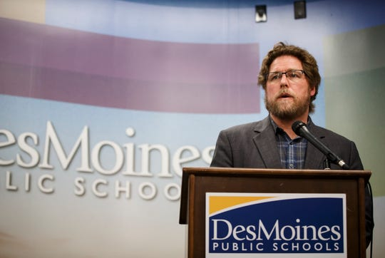 Des Moines Public Schools Superintendent Thomas Ahart speaks during a press conference on March 12 in Des Moines.