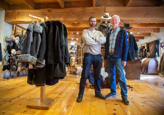 Gabriel Openshaw and Roger Leahy of Overland Sheepskin Co. stand for a portrait at their store in Fairfield Tuesday, Feb. 18, 2020.