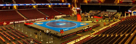 The finals stage at the 2018 NCAA Division I Wrestling Championships at Quicken Loans Arena in Cleveland, Ohio.