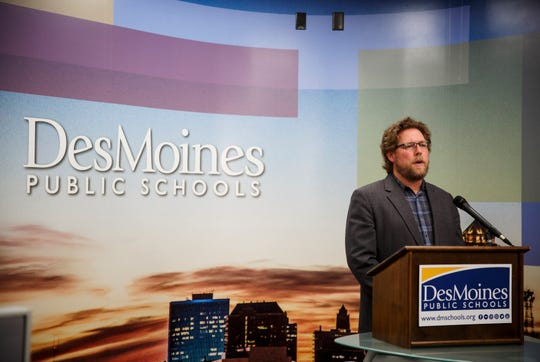 "Des Moines Public Schools Superintendent Thomas Ahart speaks during a press conference on Thursday, March 12, 2020, in Des Moines. DMPS announced that it will be closed until March 30. In a press release Ahart noted that while he hopes classes will resume then, ""this is a very dynamic situation and we will adjust accordingly if it is in the best interest of our students, staff and families.Ó"