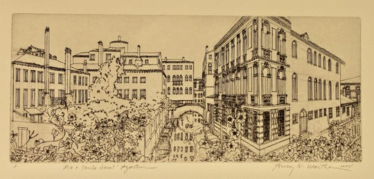 Amy Worthen made this engraving years depicting the view from her terrace in Venice, Italy.