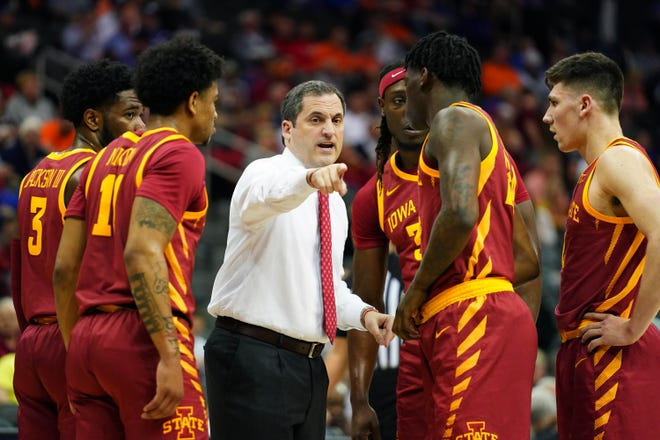 Iowa State coach Steve Prohm talks to his players during a timeout in the first half against the Oklahoma State Cowboys at Sprint Center on March 11, 2020.