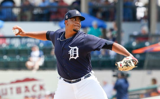 Mar 12, 2020; Lakeland, Florida, USA;  Detroit Tigers relief pitcher Rony Garcia (51) throws a pitch during the fourth inning against the Atlanta Braves at Publix Field at Joker Marchant Stadium. Mandatory Credit: Reinhold Matay-USA TODAY Sports
