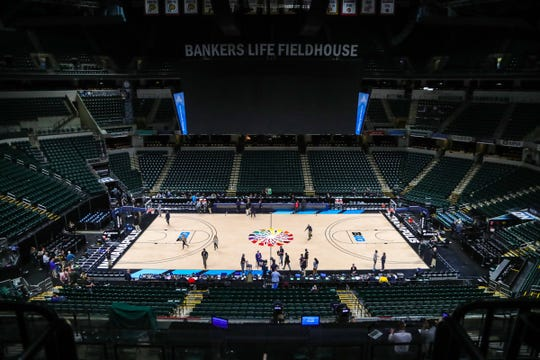 The Michigan Wolverines and Rutgers Scarlet Knights first round Big Ten tournament game at Bankers Life Fieldhouse in Indianapolis, Indiana was canceled due to the Coronavirus pandemic Thursday, March 12, 2020.