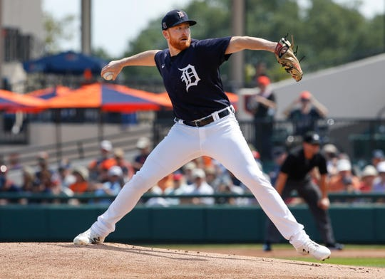 Mar 12, 2020; Lakeland, Florida, USA; Detroit Tigers starting pitcher Spencer Turnbull (56) throws a pitch during the first inning against the Atlanta Braves at Publix Field at Joker Marchant Stadium. Mandatory Credit: Reinhold Matay-USA TODAY Sports