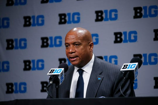 Big Ten commissioner Kevin Warren speaks to the media after the 2020 Big Ten tournament was canceled due to Coronavirus prevention on Thursday, March 12, 2020, in Indianapolis.