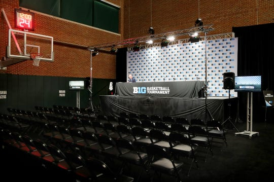The interview area sits empty after the Michigan Wolverines vs. Rutgers Scarlet Knights first round Big Ten tournament game at Bankers Life Fieldhouse in Indianapolis, Indiana was canceled due to the Coronavirus pandemic Thursday, March 12, 2020.