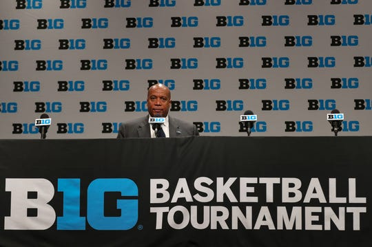 Commissioner Kevin Warren takes questions after canceling the Michigan Wolverines and Rutgers Scarlet Knights first round Big Ten tournament game at Bankers Life Fieldhouse in Indianapolis, Indiana due to the Coronavirus Pandemic Thursday, March 12, 2020.