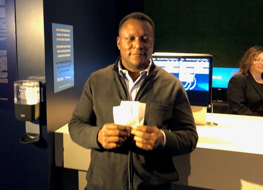 Lions legend Barry Sanders shows off his betting slips after making bets at MotorCity Casino on Thursday, March 12, 2020.