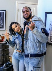 Neisha Neshae, left, and Polo Frost make a music video in Detroit