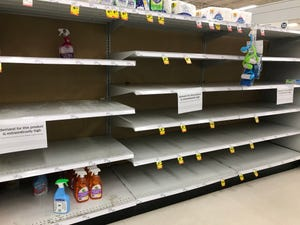 Shelves at the Meijer store at 13 Mile and Little Mack in Roseville during a surge in shopping due to the coronavirus outbreak.