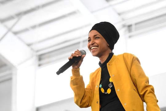 FILE - In this Feb. 29, 2020 file photo, Rep. Ilhan Omar, D-Minn., speaks at a rally in Springfield, Mass. Rep. Omar has announced her remarriage, just four months after her marriage ended following an allegation she was having an affair with her political consultant.