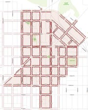 A map showing the coverage area of Fort Collins' system for monitoring parking spaces. Numbers on the map indicate the block face number, not the number of parking spaces.