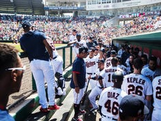 Twins players gather in the dugout after an inning at the Lee County Sports Complex on Wednesday March, 11, 2020. The stadium was packed yesterday. On Thursday Major League baseball cancelled the season until further notice because of the coronavirus.