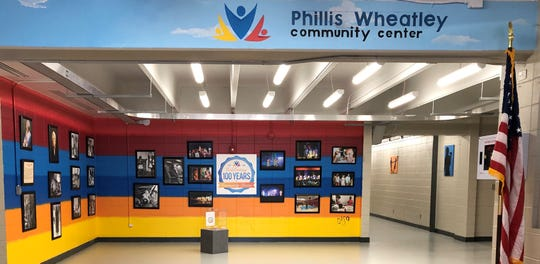 Inside the renovated front entrance of the Phillis Wheatley Community Center on Greenacre Road