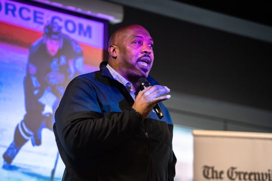 Levon Kirkland, a former Clemson football player, who spent 11 years playing in the NFL speaks at the Greenville News storytellers event at Fluor Field, Tuesday, March 10, 2020.