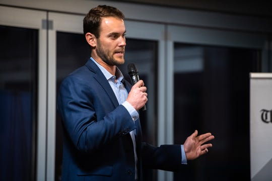 Madison Younginer, a former MLB pitcher, including for the Greenville Drive speaks at the Greenville News storytellers event at Fluor Field, Tuesday, March 10, 2020.