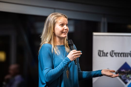 Blakely Mattern, a former pro soccer player, speaks at the Greenville News storytellers event at Fluor Field, Tuesday, March 10, 2020.