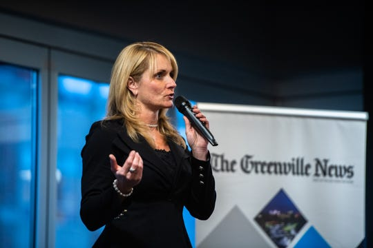 """Marie Ann """"Mo"""" Newman, a judge for the National Physique Committee, the premier amateur physique organization in the world and a former bodybuilder, speaks at the Greenville News storytellers event at Fluor Field, Tuesday, March 10, 2020."""